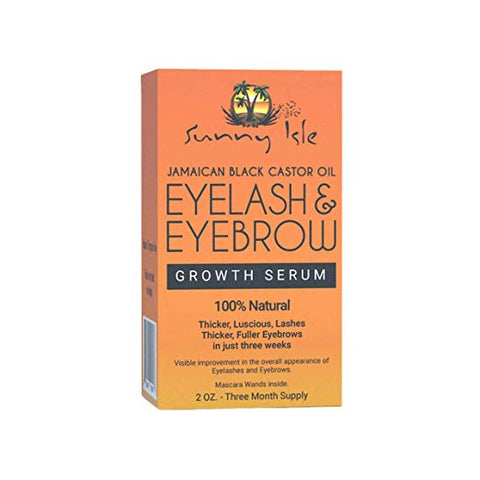 Sunny Isle Jamaican Black Castor Oil Eyelash & Eyebrow Growth Serum, Orange, 2 Ounce