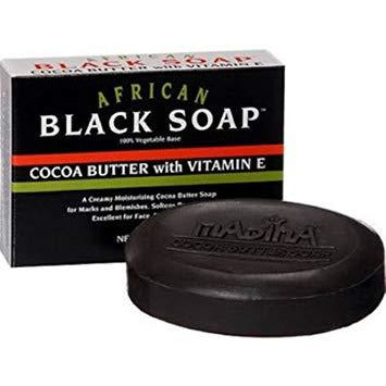 Madina Madina African Black Soap Cocoa Butter with Vitamin E, 3.5 Ounce