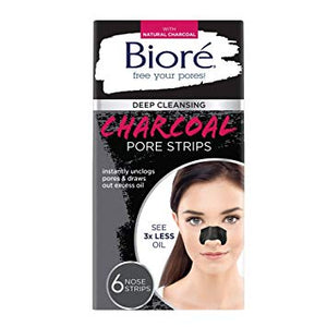 Biore Deep Cleansing Pore Strips, Charcoal, 6 Count