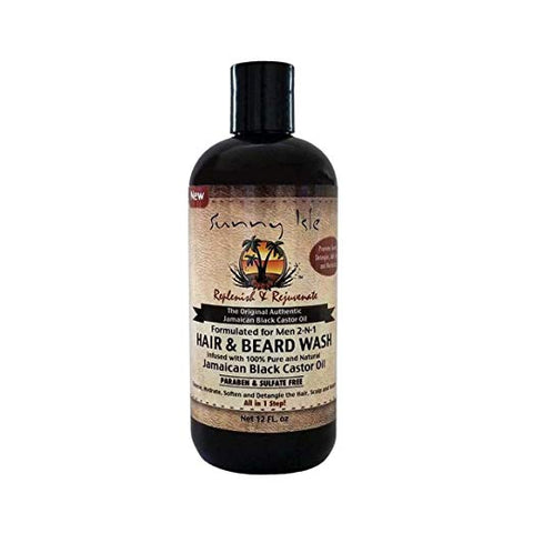 Sunny Isle Jamaican Black Castor Oil 2 in 1 Hair & Beard Wash for Men, Black, 12 Fluid Ounce