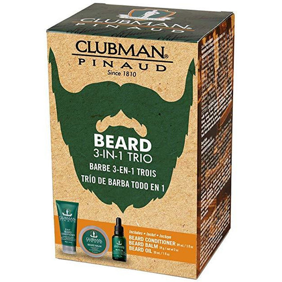 Clubman Beard 3 Piece Kit (Beard Conditioner Balm & Oil)