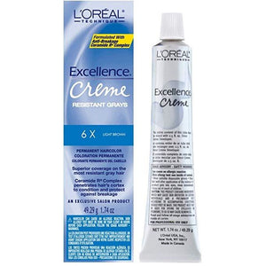 Loreal Excellence Creme Permanent Hair Color 6X Light Brown 1.74 Oz