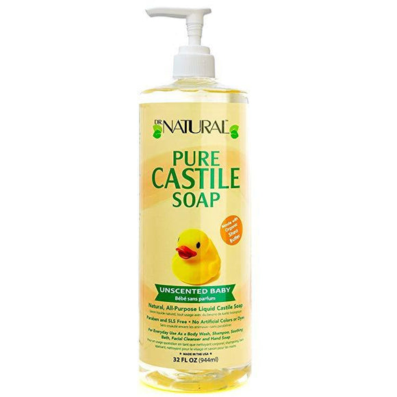 Dr. Natural Unscented Baby Castile Soap, 32 Ounce
