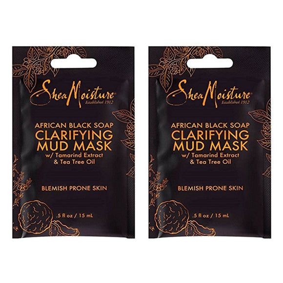 SheaMoisture African Black Soap Clarifying Mud Face Mask - Tamarind Extract & Tea Tree Oil - .5oz (12 Pack)