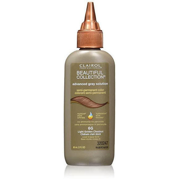 Clairol Beautiful Collection Advanced Gray Solution Hair Color, 3 Fl Oz, 6G Light Golden Chestnut