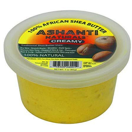 Ashanti Naturals 100% Chunky Natural African Shea Butter, Yellow, 3 Oz
