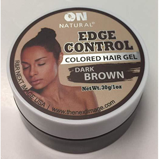 On Natural Edge Control Hair Colored Gel, Dark Brown, 1 Ounce (12 Pack)