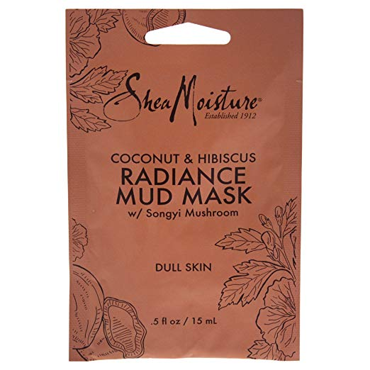 Shea Moisture Coconut & Hibiscus Radiance Mud Mask for Unisex, 0.5 Ounce
