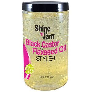 Ampro Shine 'n Jam Black Castor & Flaxseed Oil Styler 32 oz