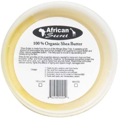 African Secret 100% Organic Shea Butter Smooth White - 8 Oz