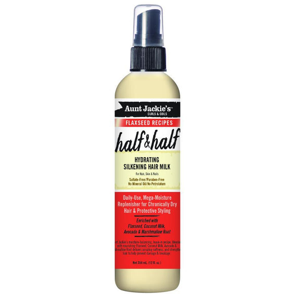 Aunt Jackie's Flaxseed Recipes Half & Half, Hydrating Silkening Hair Milk -12 Oz
