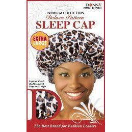 Donna Collection Premium Deluxe Pattern Extra Large Sleep Cap, Leopard Pattern
