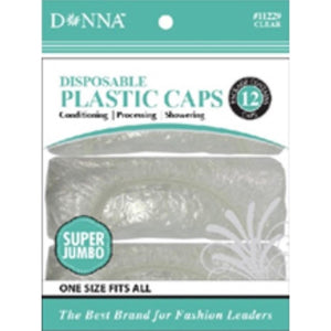 Donna Disposable Plastic Caps Small/Jumbo 12 Piece