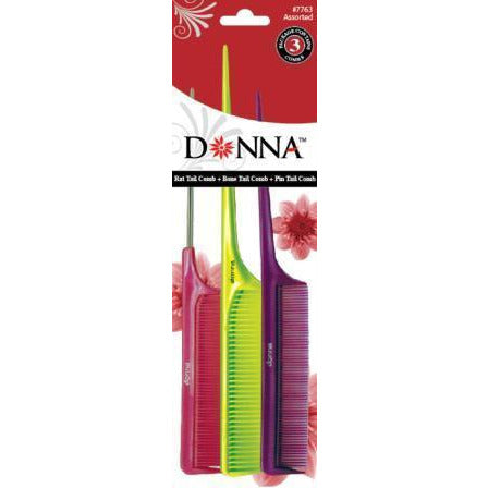 Donna Tail Combs 3 Pack Assorted