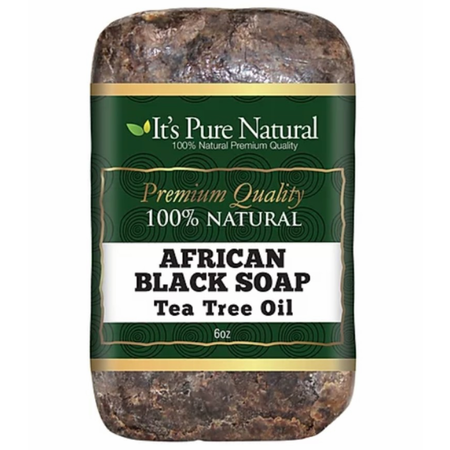 It's Pure Natural African Black Soap Bars with Tea Tree Oil, 5oz