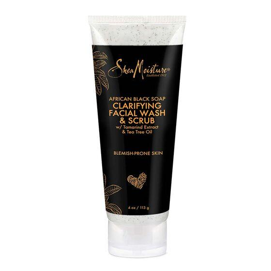 SheaMoisture Clarifying Facial Wash & Scrub African Black Soap, 4 oz