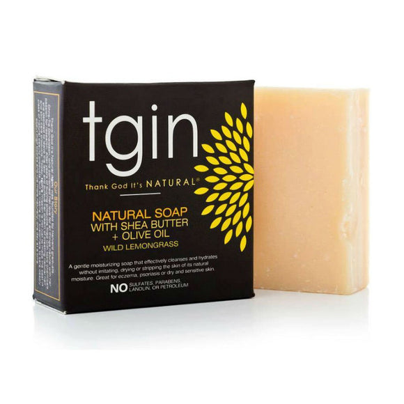 TGIN Natural Olive Oil Soap With Shea Butter - Wild Lemongrass Bar - 4 Oz