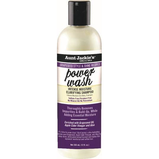 Aunt Jackie's Grapeseed Collection Power Wash Intense Moisture Clarifying Shampoo 12 Oz