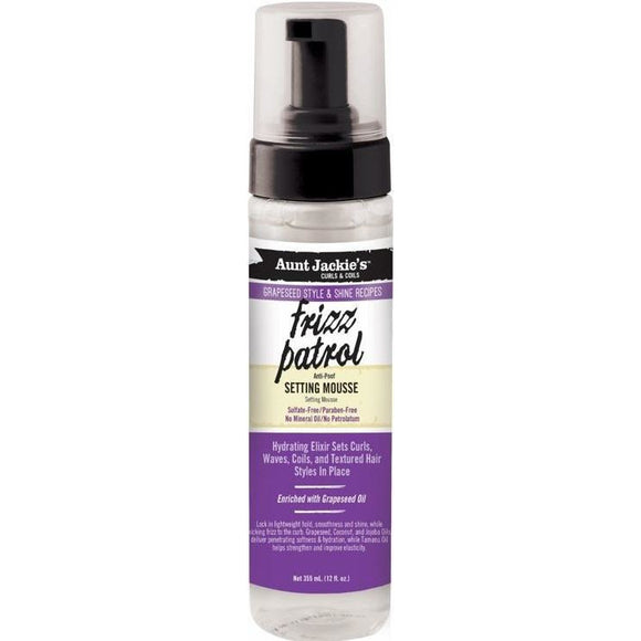 Aunt Jackie's Grapeseed Style Frizz Patrol Anti-Poof Twist & Curl Setting Mousse 8.5 Oz