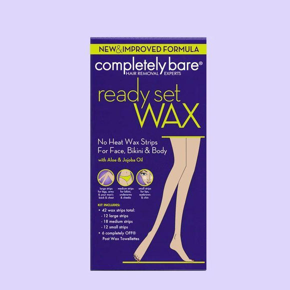 Completely Bare Ready Set Wax No Heat Wax Strips For Face, Bikini & Body, 42Ct
