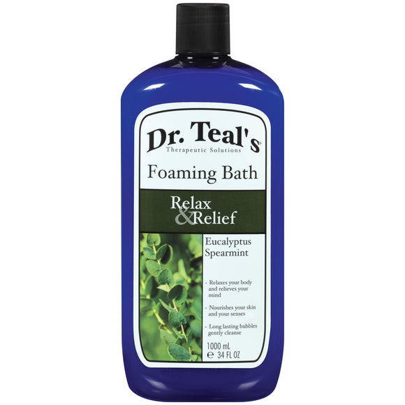 Dr Teal's Foaming Bath With Pure Epsom Salt, Relax & Relief With Eucalyptus & Spearmint, 34 Oz