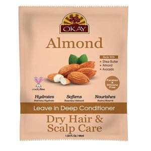 Okay Almond Dry Hair & Scalp Care Leave In Deep Conditioner (12 Pack)