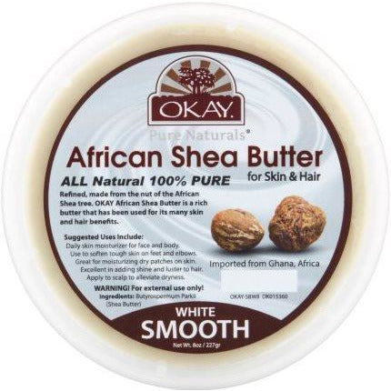Okay African Shea Butter White Smooth Jar, 16 Ounce