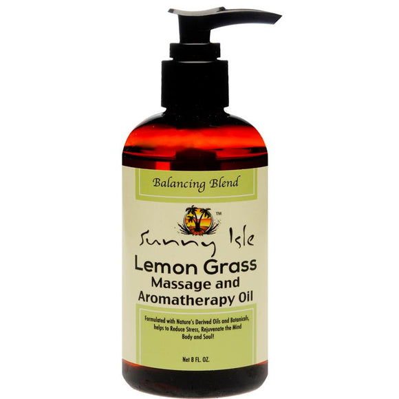 Sunny Isle Lemon Grass Massage And Aromatherapy Oil, Brown, 8 Fluid Ounce