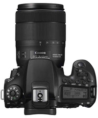 Top view of the Canon EOS 90D DSLR camera with 18-135mm Lens