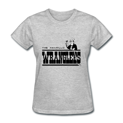 Amarillo Wranglers Black Logo Women's T-Shirt (CHL) - heather gray