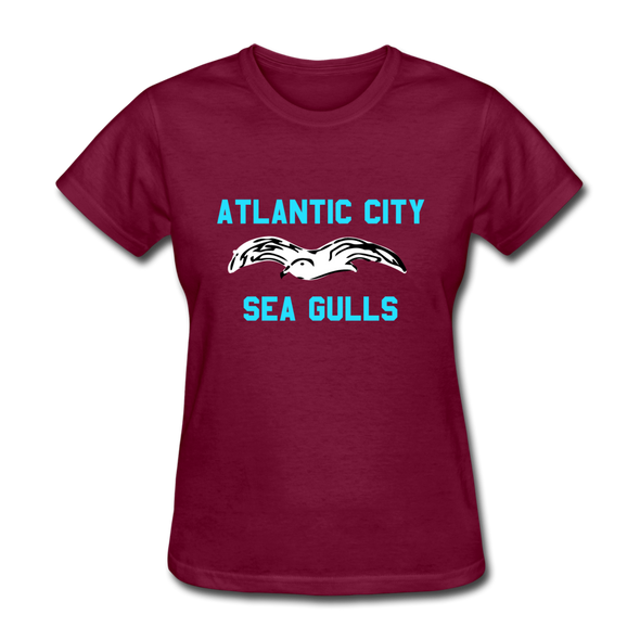 Atlantic City Sea Gulls Logo Women's T-Shirt (EHL) - burgundy