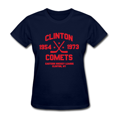Clinton Comets Dated Women's T-Shirt (EHL) - navy