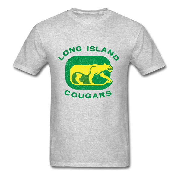 Long Island Cougars Distressed Logo T-Shirt (NAHL) - heather gray