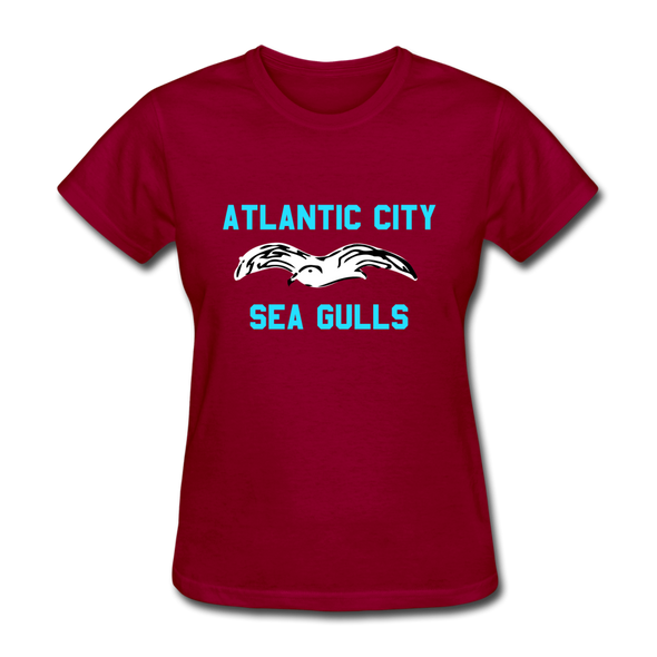 Atlantic City Sea Gulls Logo Women's T-Shirt (EHL) - dark red
