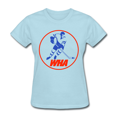 World Hockey Association Clear Logo Women's T-Shirt (WHA) - powder blue