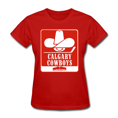 Calgary Cowboys Logo Women's T-Shirt (WHA) - red