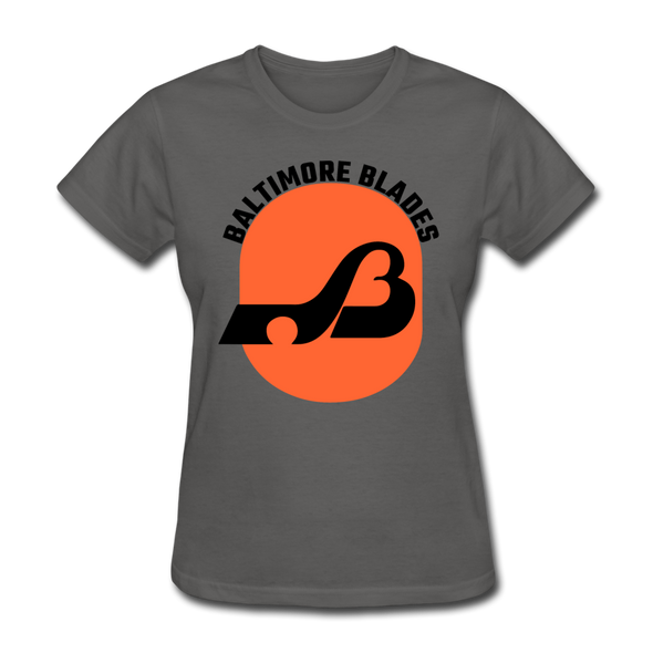 Baltimore Blades Text Logo Women's T-Shirt (WHA) - charcoal