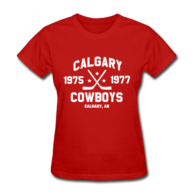 Calgary Cowboys Dated Women's T-Shirt (WHA) - red
