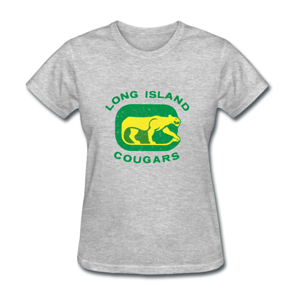 Long Island Cougars Distressed Logo Women's T-Shirt (NAHL) - heather gray