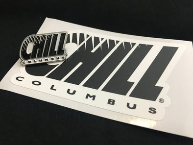 Columbus Chill Sticker and Lapel Pin Set