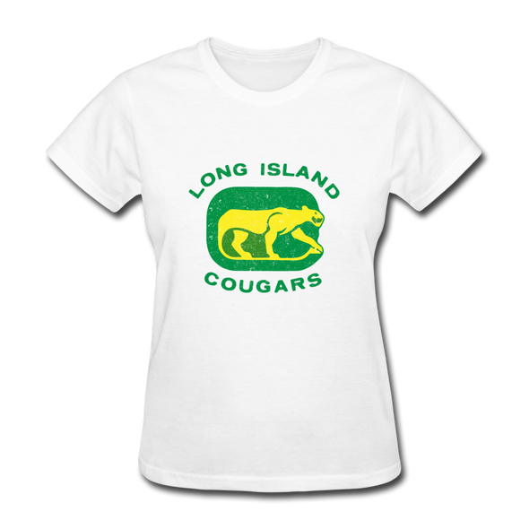 Long Island Cougars Distressed Logo Women's T-Shirt (NAHL) - white