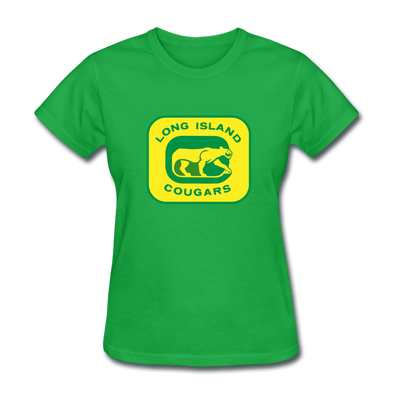 Long Island Cougars Women's T-Shirt (NAHL) - bright green