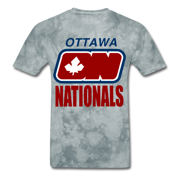 Ottawa Nationals Text Logo T-Shirt (WHA) - grey tie dye
