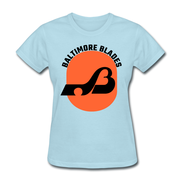 Baltimore Blades Text Logo Women's T-Shirt (WHA) - powder blue
