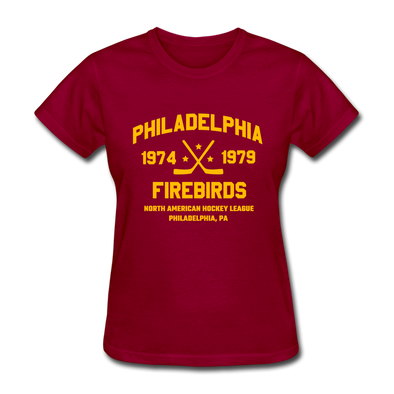 Philadelphia Firebirds Dated Women's T-Shirt (NAHL) - dark red