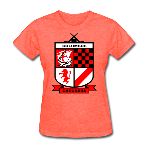 Columbus Checkers Logo Women's T-Shirt - heather coral