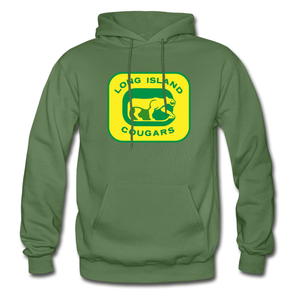 Long Island Cougars Logo Hoodie (NAHL) - military green