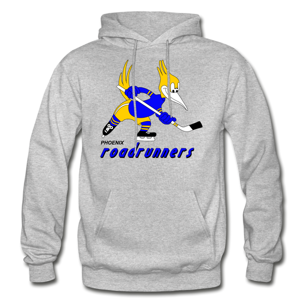 Phoenix Roadrunners Text Logo Hoodie (WHA & CHL) - heather gray