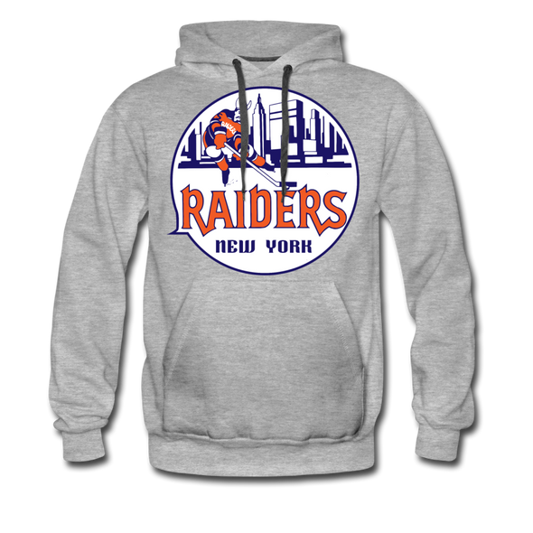 New York Raiders Logo Premium Hoodie (Single Sided Printing) - heather gray