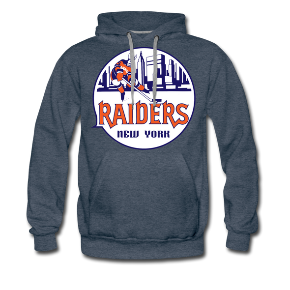 New York Raiders Logo Premium Hoodie (Single Sided Printing) - heather denim